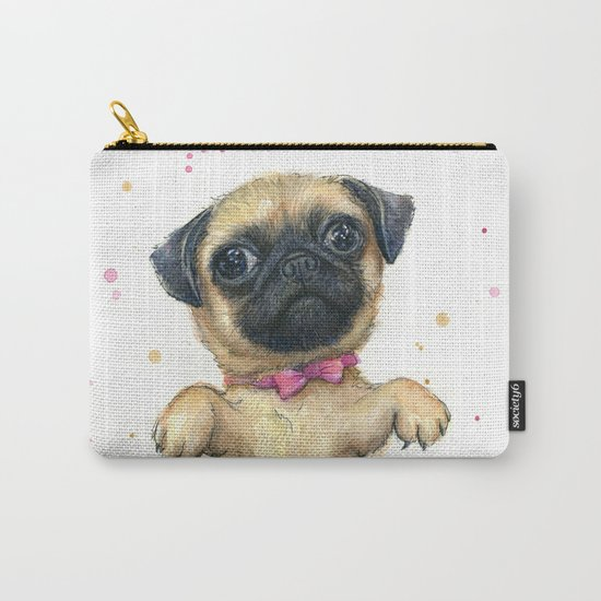 Cute Pug Puppy Dog Watercolor Painting Carry-All Pouch