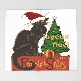 Joyeux Noel Le Chat Noir With Tree And Gifts Throw Blanket