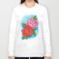 peonies Long Sleeve T-shirts featuring peonies by missfortunetattoo