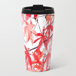 red orange maple leaves watercolor painting 2 Travel Mug