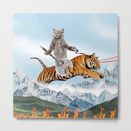 Cat Riding A Tiger Metal Print