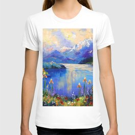 Flowers on the shore of a mountain lake T-shirt