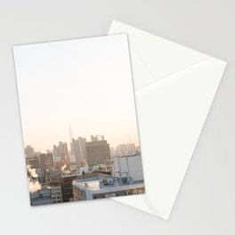 Peaceful Coffee Drinking Morning in Urban City Stationery Cards
