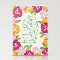 hello beautiful Stationery Cards featuring Hello Beautiful by Jasmine Nora Jones