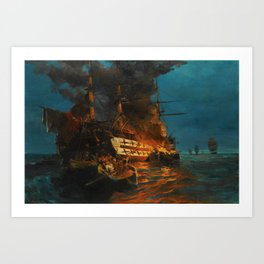 The Burning of a Turkish Frigate Art Print