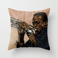 miles davis Throw Pillows featuring Miles, jazz will never be the same by The Art Warriors