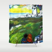 lighthouse Shower Curtains featuring lighthouse by Nastya Bo