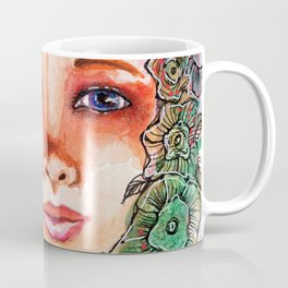 Flower Beauty   Whimsical face with flowers. Floral. Watercolor Coffee Mug