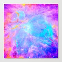 nebula Canvas Prints featuring Orion nebulA : Bright Pink & Aqua by 2sweet4words Designs