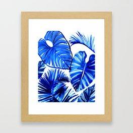 Bright Blue Jungle Leaves Framed Art Print