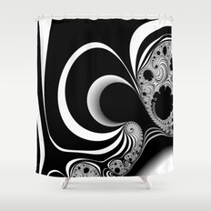 Black and White Fractal 13 Shower Curtain
