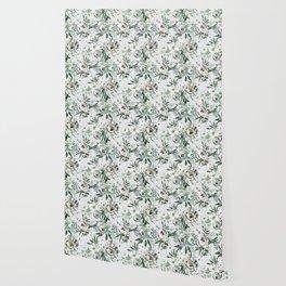 Green white blush pink watercolor geometrical floral Wallpaper