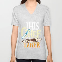 Cook Print Line Cook Print Chef Cooking Gift Whisk Taker Print Unisex V-Neck