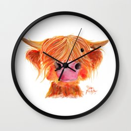 Scottish Highland Cow ' ORANGE ' by Shirley MacArthur Wall Clock