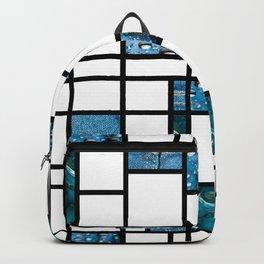 Modern Art Blue Denim Drops and Cracked Backpack