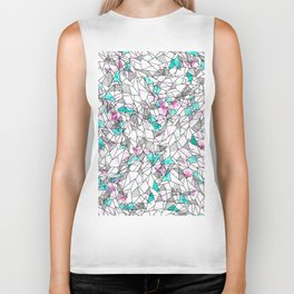 Pink and Teal Abstract Watercolor and Geometric Biker Tank