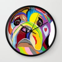 english bulldog Wall Clocks featuring Bulldog by EloiseArt