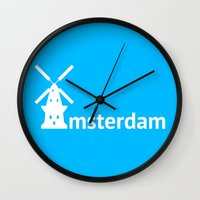 amsterdam Wall Clocks featuring Amsterdam by Flat Design