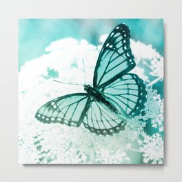 monarch butterfly turquoise aesthetic wildlife art altered photography Metal Print