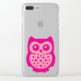 Cute Pink Baby Owl Clear iPhone Case