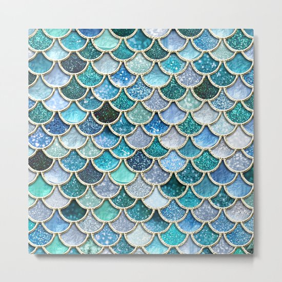 Multicolor aqua mermaid scales - Beautiful abstract glitter pattern Metal Print