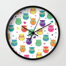 Rainbow Owl Cuties Wall Clock