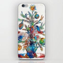 Colorful Christmas Tree Art by Sharon Cummings iPhone Skin