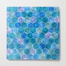 Frozen Leaves in Hexagonal Pattern 2 Metal Print