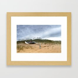 Beached Catamaran Framed Art Print