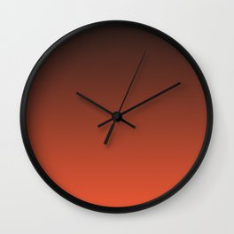 Black and orange. Gradient.  Ombre. Wall Clock