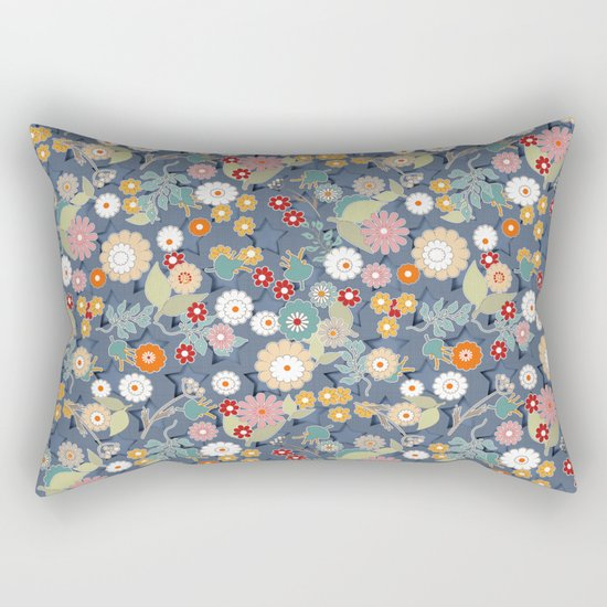 Colorful flowers on a denim background. Rectangular Pillow