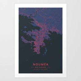 Noumea, New Caledonia - Neon Art Print