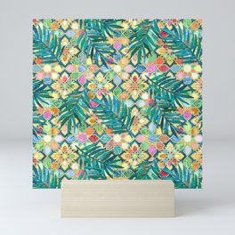 Gilded Moroccan Mosaic Tiles with Palm Leaves Mini Art Print