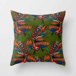 rooster ink green Throw Pillow