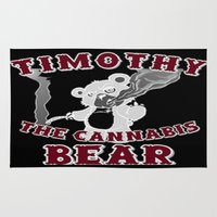 cannabis Area & Throw Rugs featuring TIMOTHY THE CANNABIS BEAR  by Timmy Ghee CBP