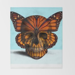 SKULL (MONARCH BUTTERFLY) Throw Blanket