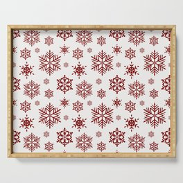 Large Dark Christmas Candy Apple Red Snowflakes on White Serving Tray