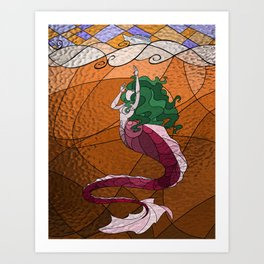 Primeval Mermaid (orange) Art Print