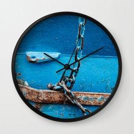 blue boat detail Wall Clock