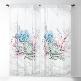 Beautiful Succulents on Marble Watercolor by Nature Magick Blackout Curtain