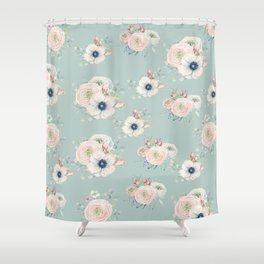 Dog Rose Pattern Mint Shower Curtain
