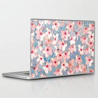 bedding Laptop & iPad Skins featuring Shabby Chic Hibiscus Patchwork Pattern in Pink & Blue by micklyn