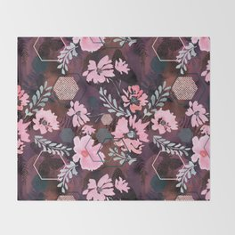 Pink flowers on an abstract cherry background. Throw Blanket
