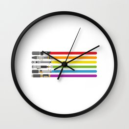 Lightsaber rainbow Wall Clock