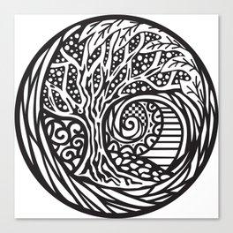 Tree motif in black in white Canvas Print