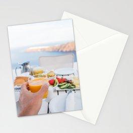 Santorini breakfast at luxury hotel Stationery Cards