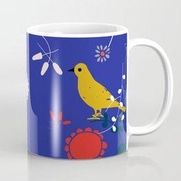 Bird and blossom electric blue Coffee Mug