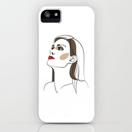 Woman with long hair and red lipstick. Abstract face. Fashion illustration iPhone Case