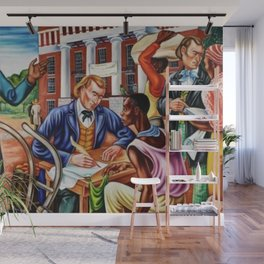 """African American Classical Masterpiece """"Opening day at Talladega College"""" by Hale Woodruff Wall Mural"""