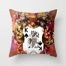 Poker King Spades colored Throw Pillow